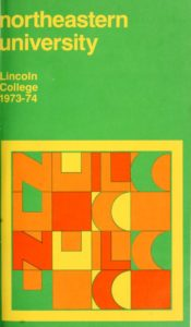 Multicolored cover page of the 1973-1974 Lincoln College Course Bulletin