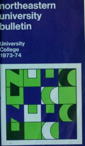 Multicolored cover page of the 1973-1974 University College Course Bulletin
