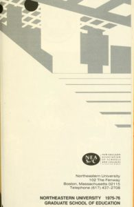 Grayscale graphic cover art of the 1975-1976 Graduate School of Education Course Bulletin