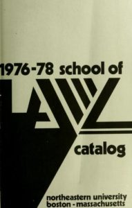 Black and white graphic cover of the 1976-1978 School of Law Course Catalog