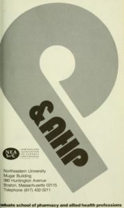 Grayscale graphic cover of the 1976-1977 Graduate School of Pharmacy and Allied Health Professions Course Catalog