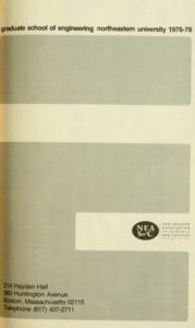 Grayscale graphic cover of the 1976-1978Graduate School of Engineering Course Catalog