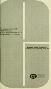 Grayscale graphic cover of the 1976-1977 Graduate School of Education Course Catalog
