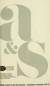 Grayscale graphic cover of the 1976-1978Graduate School of Arts and Sciences Course Catalog