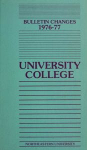 Blue and purple colored cover page of the 1976-1977 University College Bulletin Changes