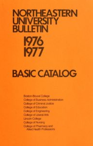 Orange colored cover of the 1976-1977 Basic Course Catalog