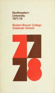 Multi-colored cover page of the 1977-1978Boston-Bouvé Graduate School Course Catalog