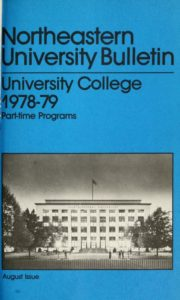 Multicolored photographic cover page of the 1978-1979 University College Part-time Programs Bulletin