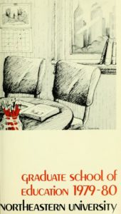 Illustrated cover page of the 1979-1980Graduate School of Education Course Catalog