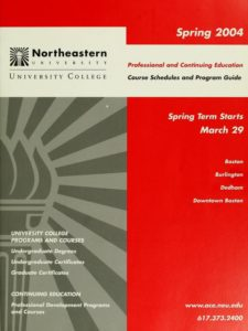 Multicolored graphic cover page of the Spring 2004 Professional and Continuing Education Course Catalog