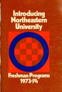 Red and blue graphic designed cover page of the 1973-1974Freshman Programs Course Catalogs
