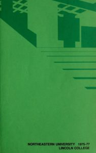 Green colored cover page of the 1975-1977 Lincoln College Course Bulletin
