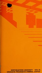 Orange graphic colored cover page of the 1975-1976Graduate Program in Criminal Justice Course Bulletin
