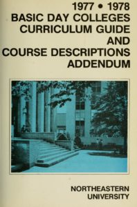 Blue and White Photographic cover page of the 1977-1978 Basic Day Colleges CourseDescriptions Addendum