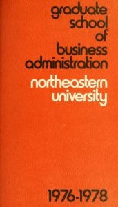 Orange-colored title page of the 1976-1978Graduate School of Business Administration Course Catalog