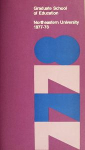 Multicolored cover page of the 1977-1978Graduate School of Education Course Catalog