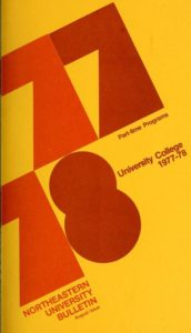 Multicolored cover page of the 1977-1978 University College Part-time Programs Course Catalog