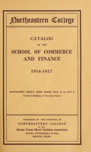 Parchment-colored title page of the 1916-1917 School of Commerce Course Catalog