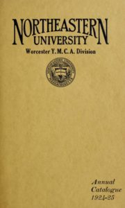 Yellow-colored cover of the 1924-1925 Worcester Division Course Catalog