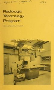Yellow Graphic cover of the 1972 Radiologic Technology Program Course Catalog