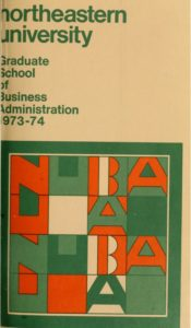 Multi-colored cover of the 1973-1974 Graduate School of Business Administration Course Bulletin