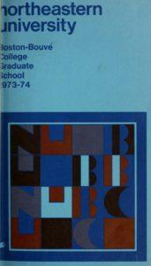 Multi-colored cover of th 1973-1974 Boston-Bouvé Graduate School Course Catalog