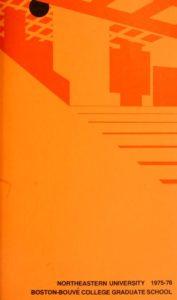 Orange graphic cover of the 1975-1976 Boston-Bouvé College Graduate School Course Catalog