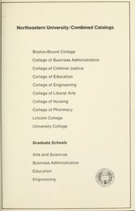 Parchment colored title page of the 1970-1971 Course Catalogs